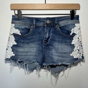 Indigo Rein Denim And Lace Shorts